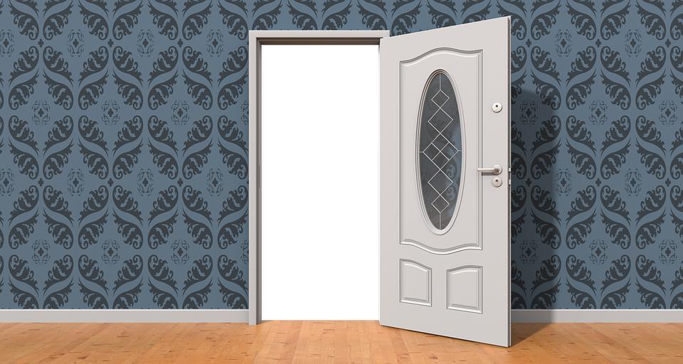 ドア, オープン, 壁, オープンドア, ホーム, インテリア, 家, 希望, 屋内で, アパート, 反対側に