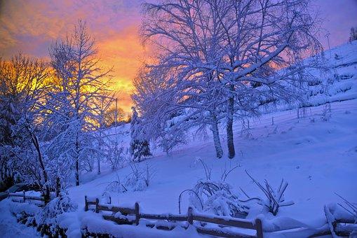 Sunrise, Schnee, Berg, Natur, Winter