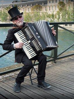 Musico, Gade, Paris, Harmonika, Musik