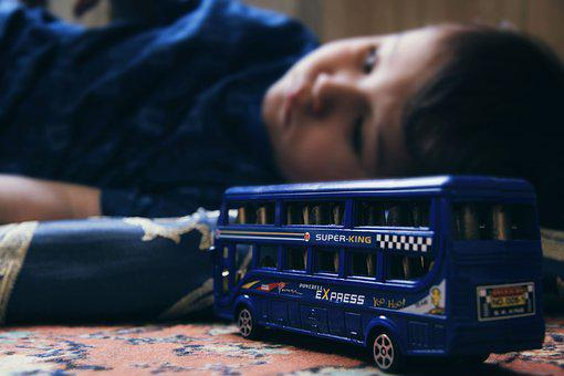 Sad Child, Double-Decker, Toys, Kids