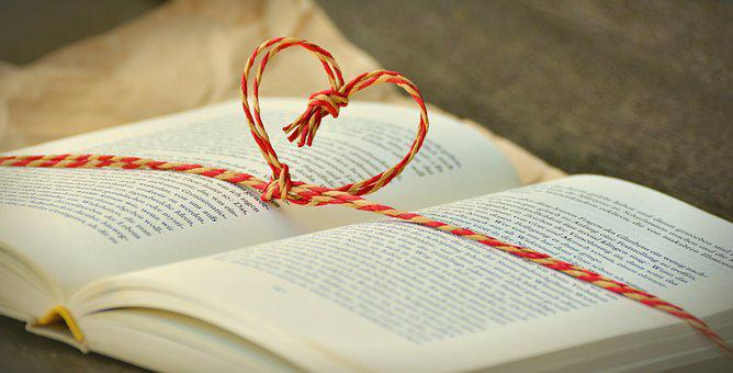 Book, Book Gift, By Heart, Cord, Gift