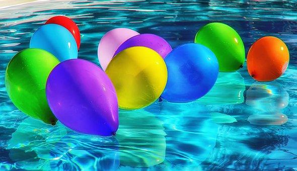 Ballons, Coloré, Couleur, L'Eau, Pool