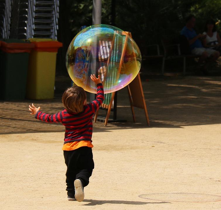 子どもの遊び, 子, 少し, 幸せ, 子ども, 幸福, 公園, バルーン, カラフルです, イノセンス, 喜び