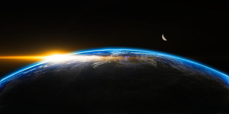 日の出, スペース, 宇宙, 地球, 世界, 日光, フレア, ビーム, 3 D, 地平線, 希望, 惑星