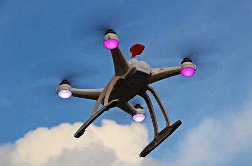 无人驾驶飞机, 无人机, 天空, 云, Quadrocopter, 飞行