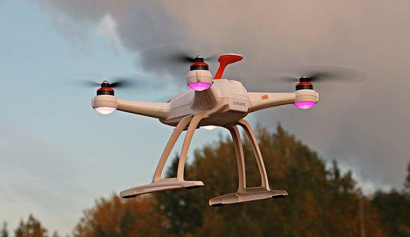 ドローン, Uav, 空, 雲, Quadrocopter, 飛行, ロボット