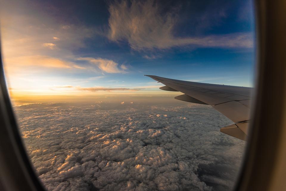 travel plane sunset free photo on pixabay