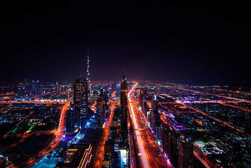 Dubai, Skyscraper, City Lights