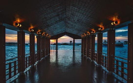 Maldives, Pier, Dock, Lights, Bay