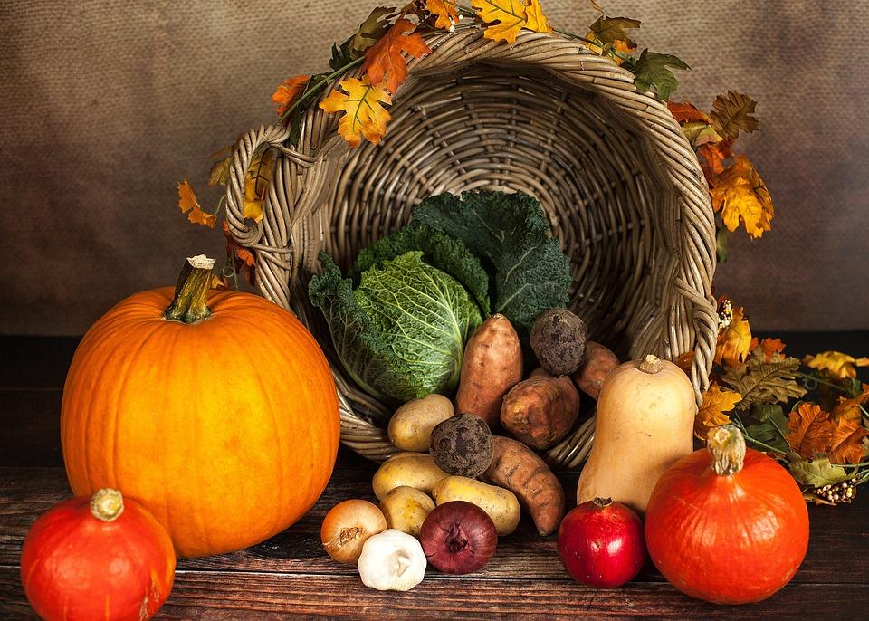 カボチャ, 野菜, 秋, 感謝のバスケット, 感謝, バスケット, 10月, サヴォイ, ジャガイモ
