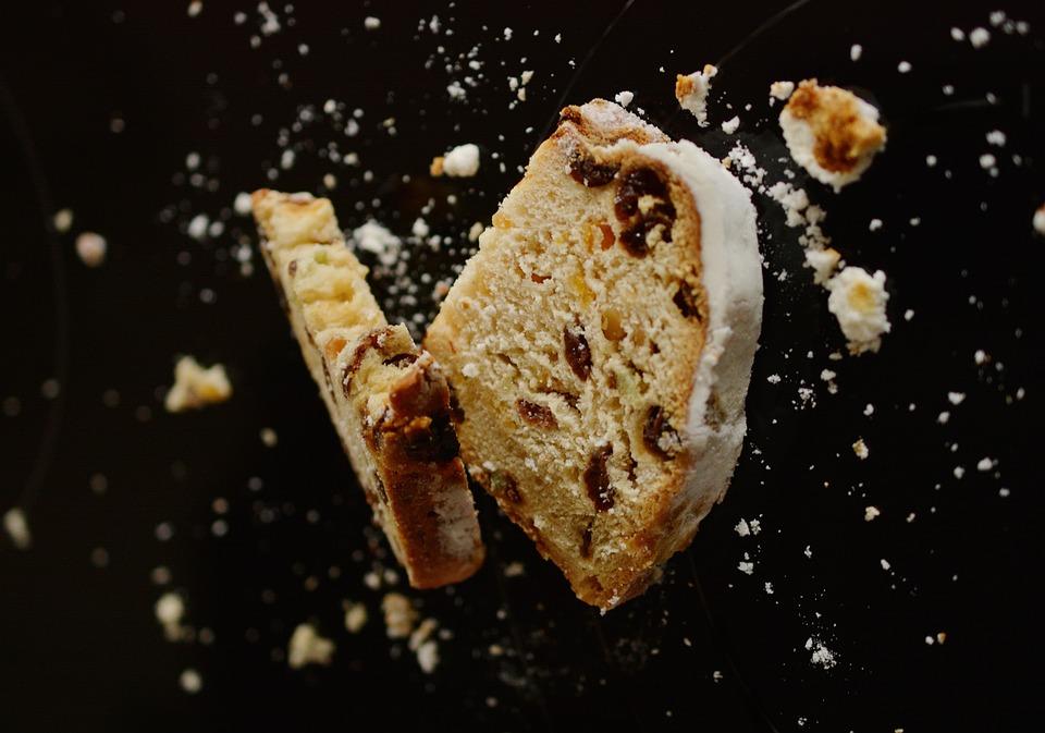 Stollen, Bread, Crumbs, Pastry, Baked, Food, Snack