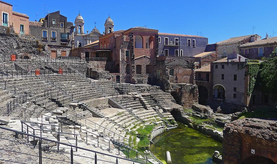 Catania, Teatro, Romano, Römisches Theater, Italien
