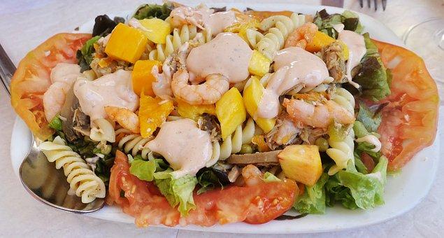Salad, Seafood, Prawns, Dressing, Tomato