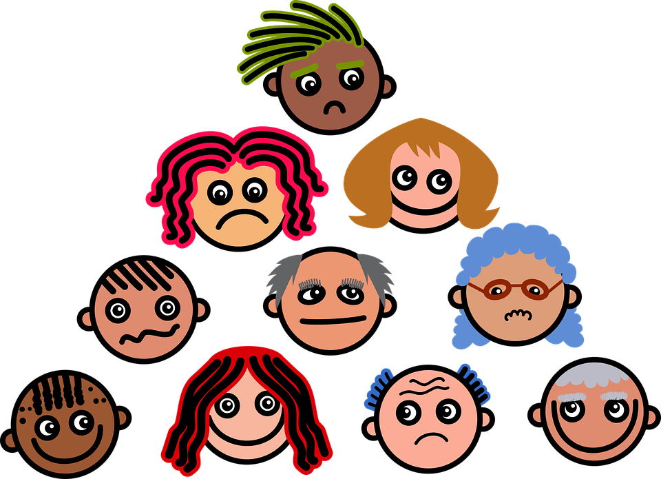 Cartoon, Faces, Expressions, Emotions, Diversity, Crowd