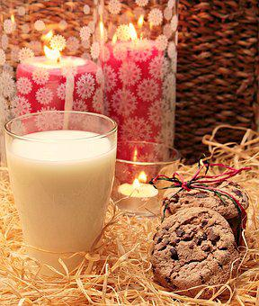 Milk, Glass Of Milk, Cookies, Candles