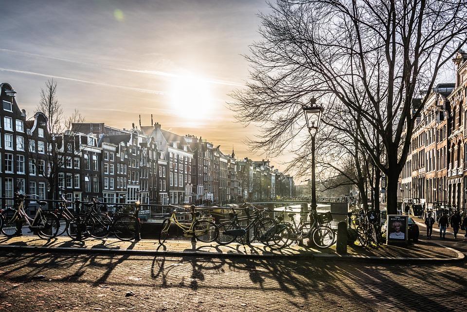 Amsterdam, Cidade, Ponte, Rio, Sol, Edifício