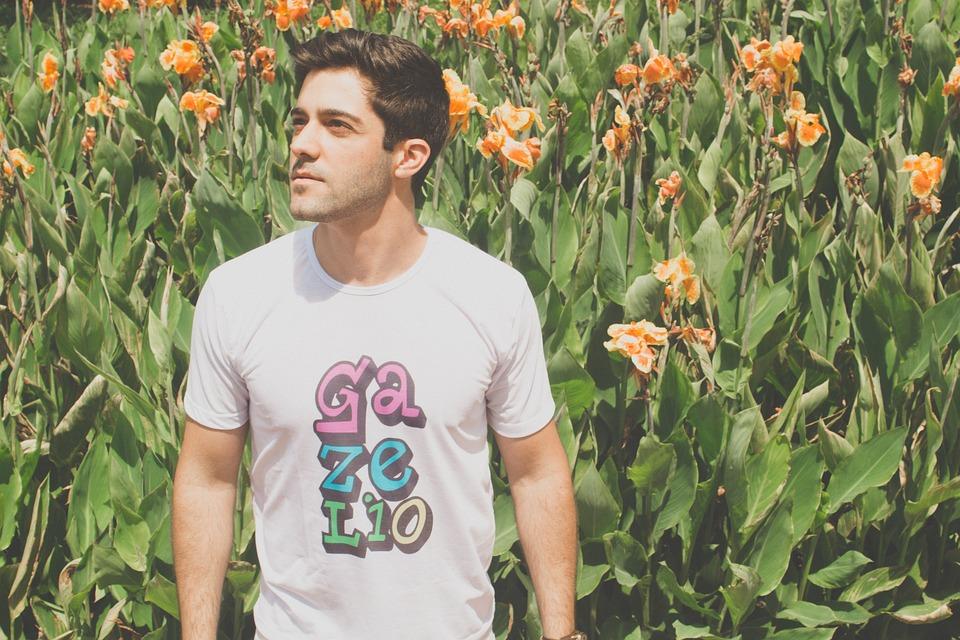 Man, Flower, Beauty, Model, Beautiful, Young, T-Shirt
