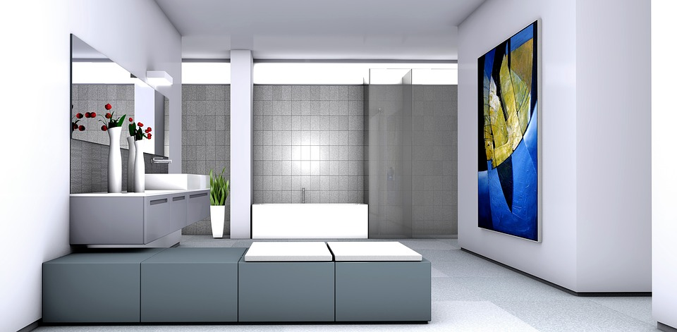 Badezimmer, Malerei, Galerie, Bad, 3D Modell, Wohnen