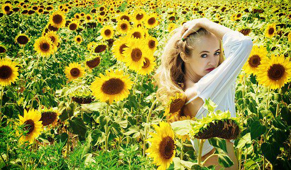 Girl, Summer, Sunflowers, Greens, Nature