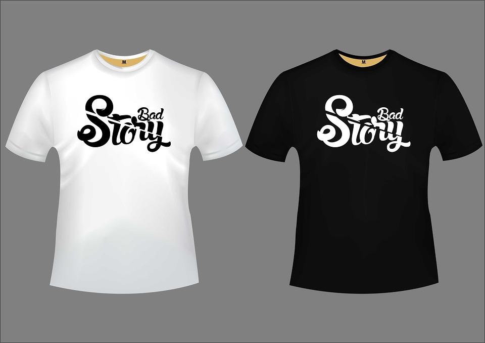 Cerita Buruk, Desain, Tshirt, Huruf, Abu-Abu Surat