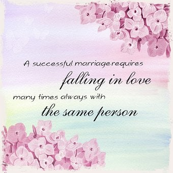 Bluish image with flowers and words A successful marriage resquires falling in love ... for 301 inspirational and motivational quotes