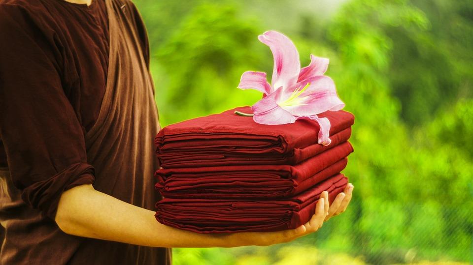 Theravada Boeddhisme, Boeddhistische, Nun, Offer Robe