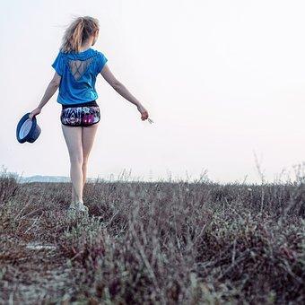 夏, 女の子, 足取り, 帽子, 草, 風景, 自然, 肖像画, 旅
