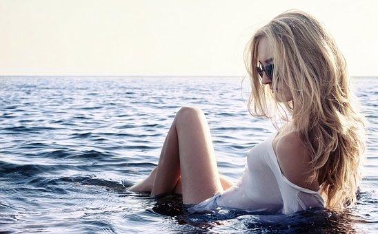 Девушка, Море, Эротика, Небо, Очки