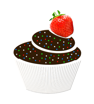 Muffin with strawberry