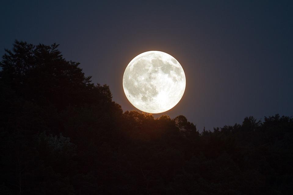 Luna Piena, Cielo Della Sera, Moonlight, Luna