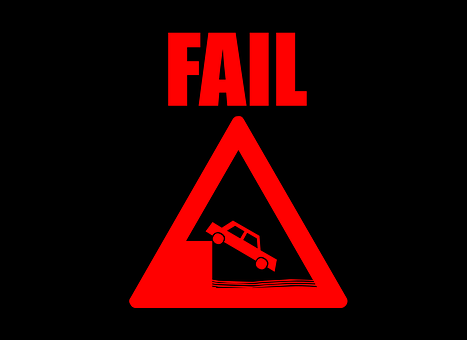 A red triangular road sign FAIL to signify 90 reasons why 90 per cent of online businesses fail
