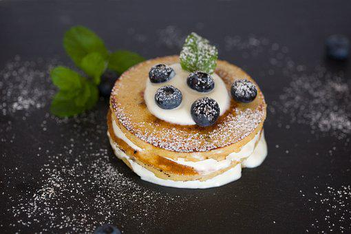 Pancake Breakfast Eat Blueberries Cream Fo