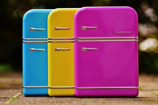 冷蔵庫, 缶, キャンディーの瓶, 青, 黄色, ピンク, ストレージ
