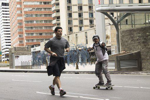 スポーツ, 高齢者, ストリート, スケート, 都市, お大事に