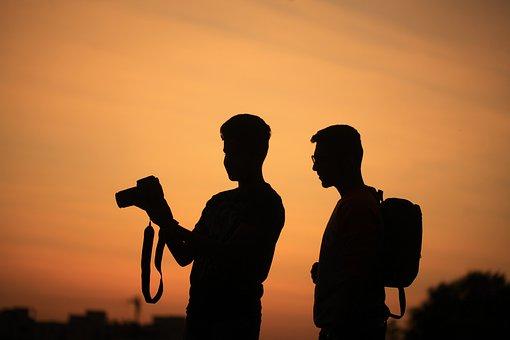 男性, シルエット, カメラ, 写真家, 空, 日没, 屋外, 休暇, 写真撮影