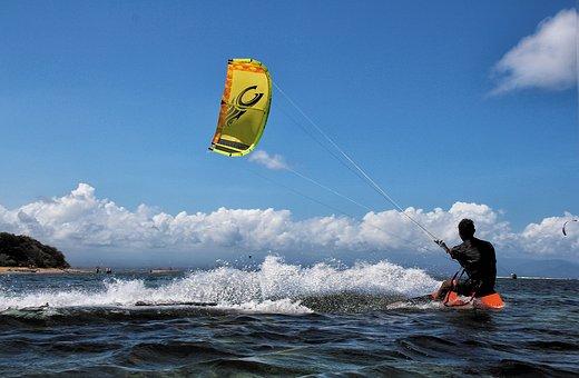 Kite Surf, Bali, Sanur, Aquatics, Action