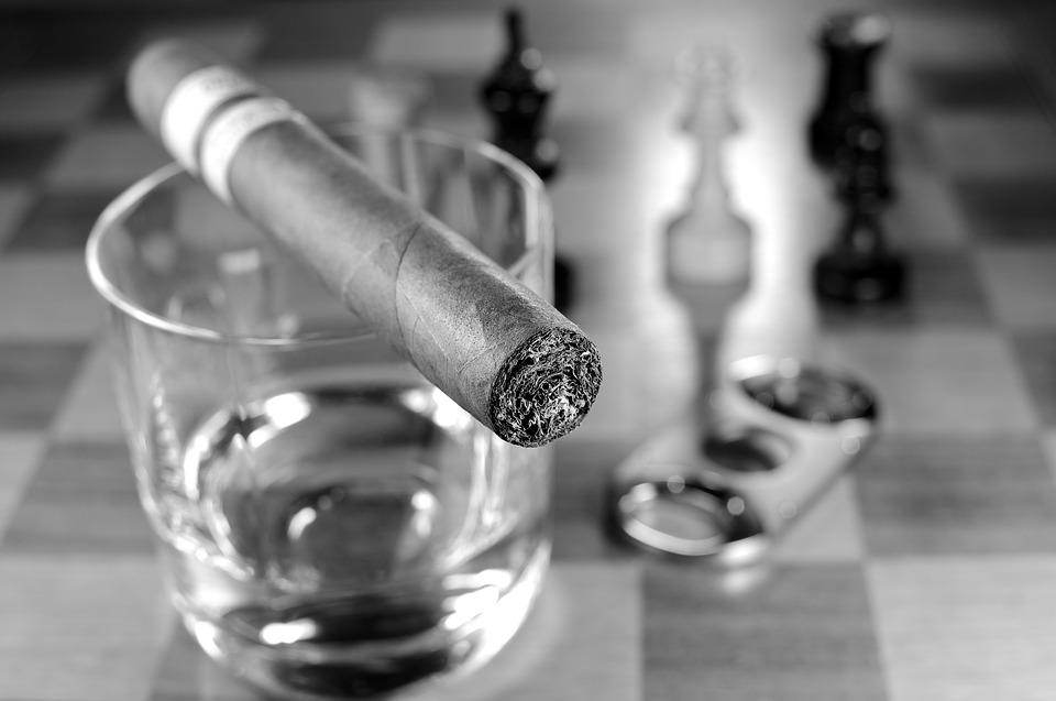 Chess, Chess Board, Chess Pieces, Glass, Cigar, Whisky