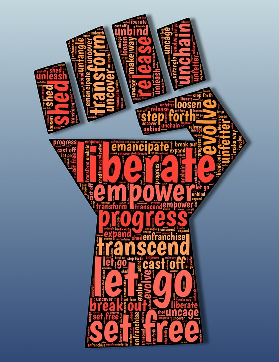 fist shape filled with words including Emancipate, Liberation, Liberate, Enfranchise, Freedom