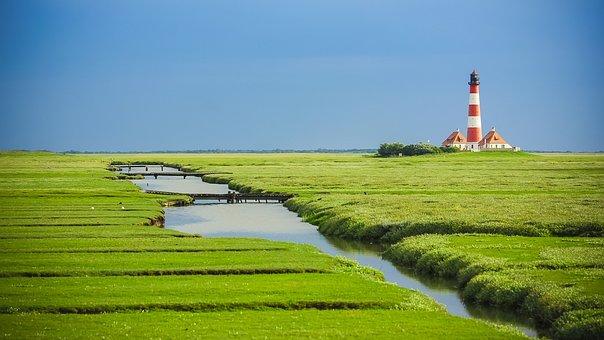 ヴェスター灯台, 北の海, 灯台, Nordfriesland, 海岸