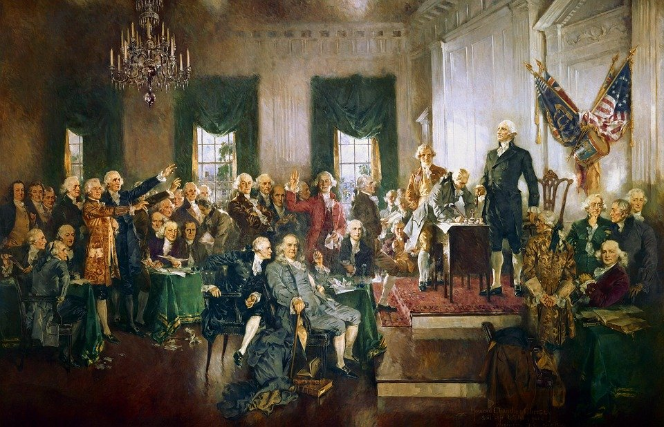 アメリカ, 憲法, 署名, 契約, 絵画, ジョージ ・ ワシントン, ベンジャミン ・ フランクリン