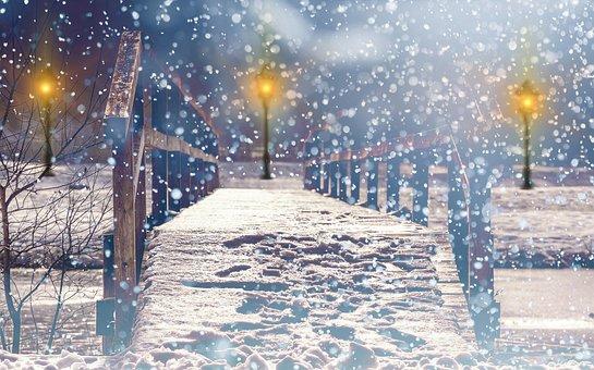Snow, Snowfall, Lantern, Lights, Light