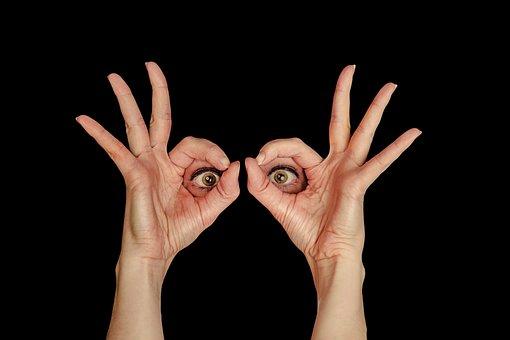 ビュー, 目, 見て, 女性, フレーム, 手, 指, セクション, 視点