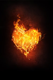 Heart, Fire, Flame, Burn, Love, Blaze