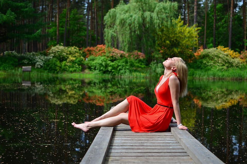 Woman, Jetty, Lake, Rest, Leisure, Relaxation, Fashion
