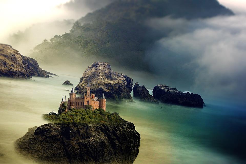 free illustration castle sea ocean mountain rock