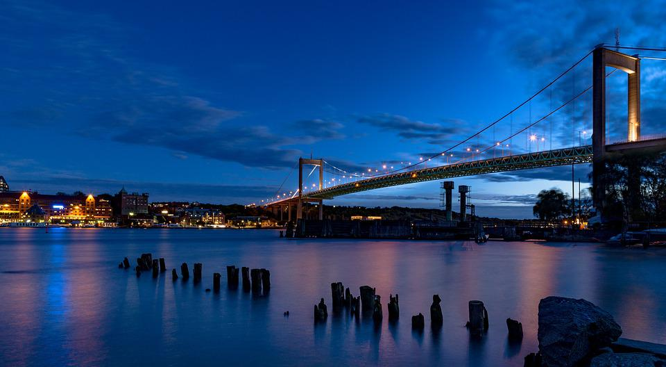 Älvsborgsbron, Göteborg, Solnedgång, Natt, Sverige