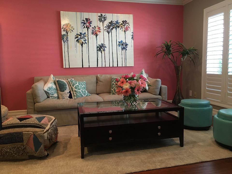 Roze Muur Woonkamer Moderne · Gratis foto op Pixabay