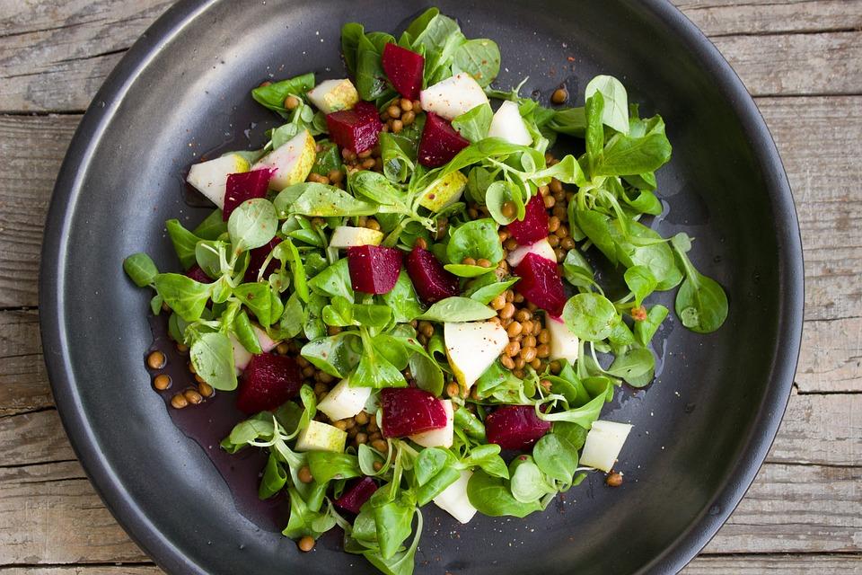サラダ, レンズ, 梨, ビート, ベジタリアン, 菜食主義者, カラフル, 健康, 野菜, おいしい