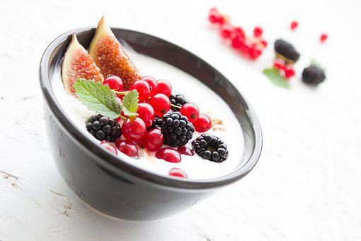 Yogurt Berries Fig Fruits Breakfast Health