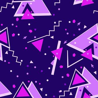 Purple Blue Geometric Pattern Memphis